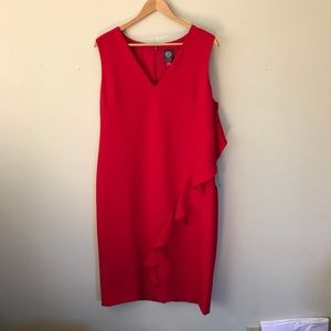 NEW Vince Camuto Red Ruffle Sheath Dress